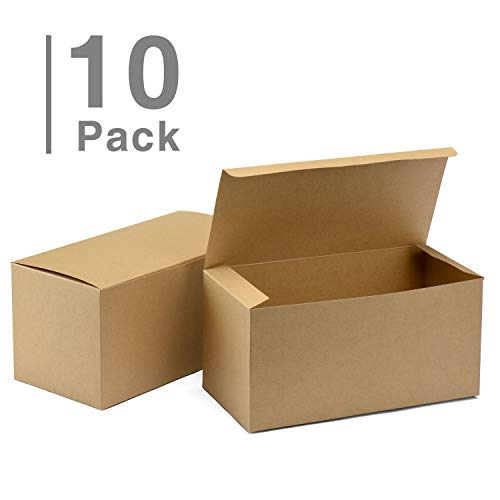 GSSUSA 10pack Bridesmaid Proposal Boxes 9x4.5x4.5 Brown Kraft Gift Boxes with Lids for Gifts, Crafting, Cupcake Boxes]()