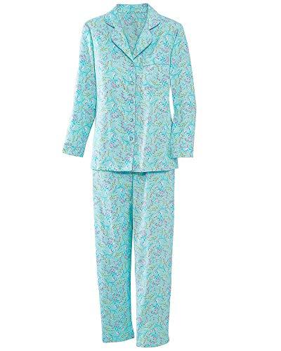 - La Cera Rose Print Flannel Pajamas, Aqua Floral, Large