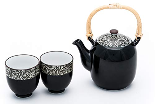 (Authentic Japanese Minoware Pottery Tea Pot with Stainless Steel Strainer and 2 Tea Cups Gift Tea Set Made In Japan (Black Kara kusa))
