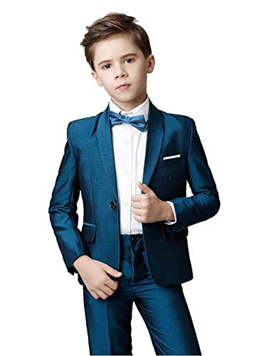 Toddler Kids Boys Suits 5 Piece Slim Fit One Button Suit for Boys Blue Size 8 -