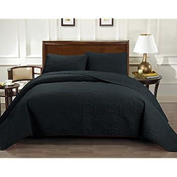 amazon com 3 piece reversible queen full bedspread black grey