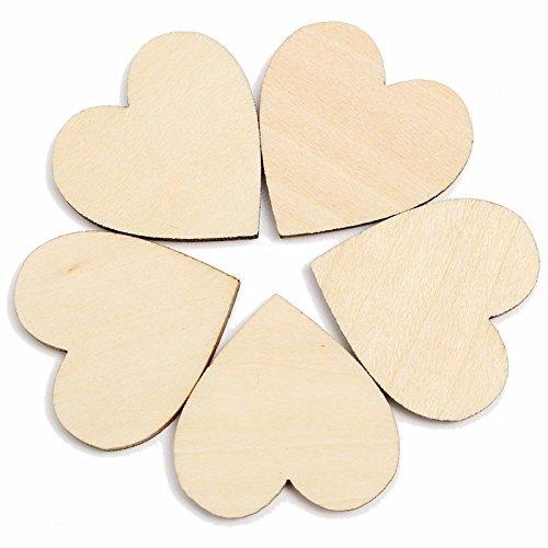 Primi 50pcs creativo de madera corazones Craft para–Figura de madera rústica decoración de la boda 4cm FEMDBUFJBJB084