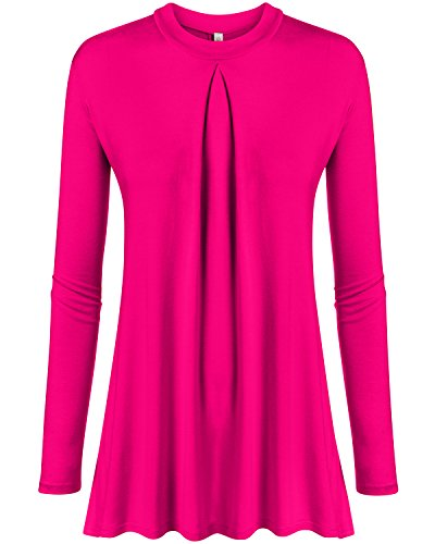 Fuchsia Tunic Hot Pink Long Sleeve Shirt Womens Reg and Plus Size - Women Office Hot