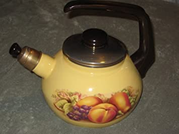 John Aynsley Orchard Gold Heavy Metal Enamel Tea Kettle Teapot