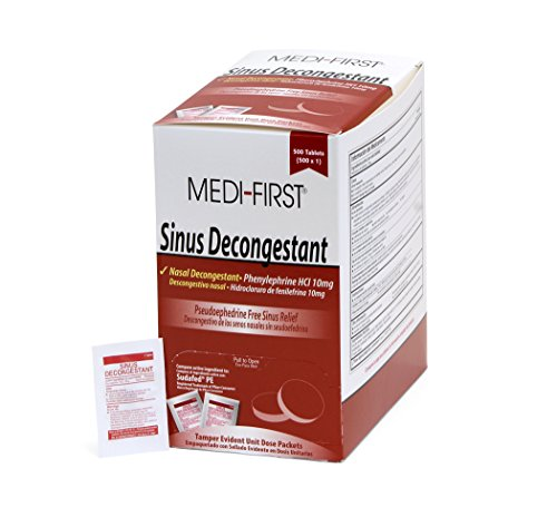 Medi-First Sinus Decongestant, Nasal Decongestion Pills - 1 Box of 500 Tablets (Best Decongestant For Ear Congestion)