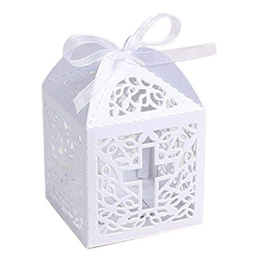 KAZIPA 50PCS Baptism Favor Boxes, 2.2''x2.2''x2.2''Laser Cut Favor Boxes with 50 Ribbons for Baby Shower Favors Baptism First Birthday Party Wedding Decorations]()