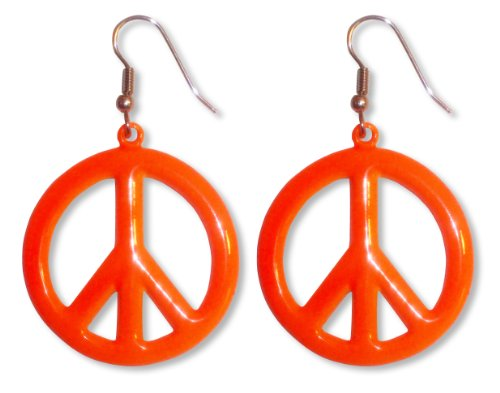 (Neon Orange Hippie Peace Sign Dangle Earrings)