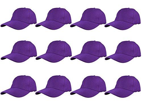 Gelante Plain Blank Baseball Caps Adjustable Back Strap Wholesale LOT 12 Pack- 001-Purple (Purple Baseball Cap Hat)