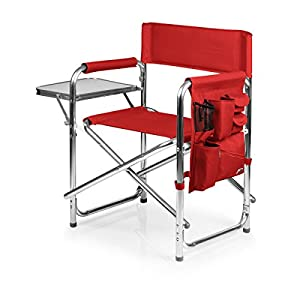 Picnic Time Portable Folding Sports Chair, Red