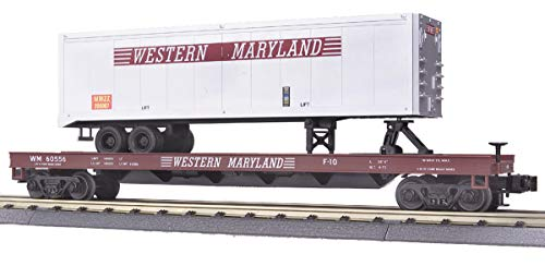 (MTH 1:48 O Scale Western Maryland Flat Car w/40 Trailer #60556 Train #20-98136)