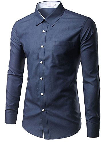 Mada Men's Solid Oxford Business Dress Shirt Basic Long Sleeve Shirts X-Small Navy