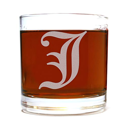 - Etched Monogram 10.5oz Rocks Old Fashioned Lowball Glass for Whiskey Scotch Bourbon (Letter J)