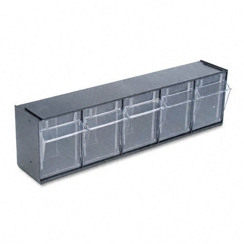 deflect-o : Tilt Bin Plastic Storage System with Five Bins, 23 5/8 x 5 1/4 x 6 1/2, Black -:- Sold as 2 Packs of - 1 - / - Total of 2 Each