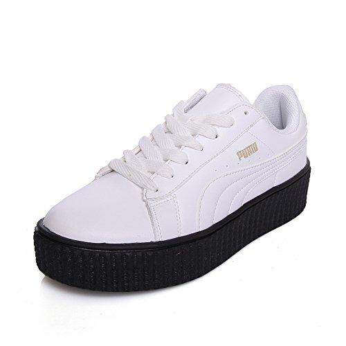 BalaMasa Ladies Bandage AssortedColor Platform Urethane Walking Shoes White Wc3YcuU