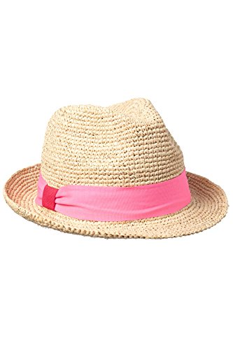 Hat Attack Women's Crochet Raffia and Pink Fedora Natural/Pink One