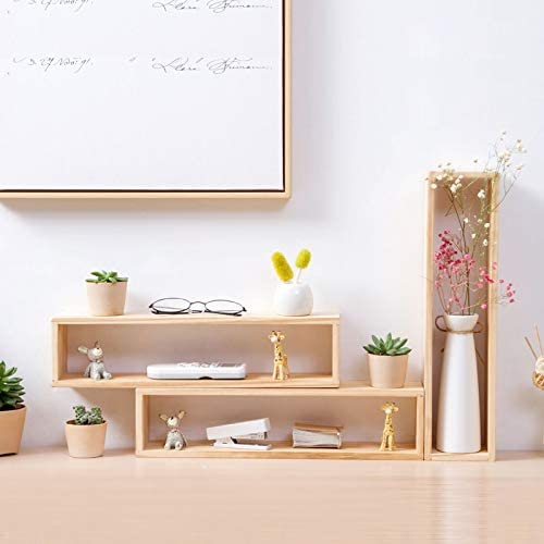 [해외]MEIZHIYUE Desktop Pine Organizer Shelf Flower Pot Decoration Frame Desk Decorative Storage Box Solid Wood Multi-Layer Storage Rack / MEIZHIYUE Desktop Pine Organizer Shelf Flower Pot Decoration Frame Desk Decorative Storage Box Sol...