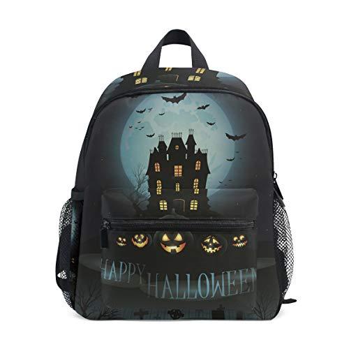 MUOOUM Scary Castle Pumpkin Bat Halloween Kids Backpack Pre-School Toddler Bag Travel Daypack