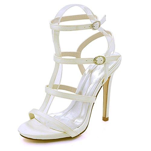 Satén Ivory Talón L Party Open Mujeres D7216 08 Del De Boda Verano Las Alto yc Nupcial Prom La Zapatos Toe rxYYq1IH