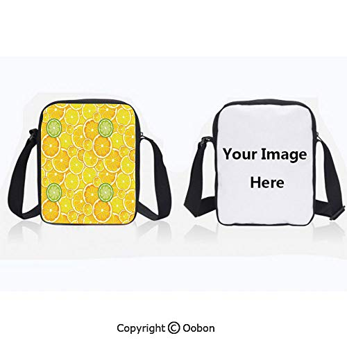 Fashion Everywhere Bag Waterproof Unisex Children Lemon Orange Lime Citrus Round Cut Circles Big and Small Pattern Yellow White and Green Lightweight Crossbody Polyester Shoulder Bag