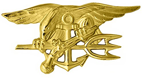 (U.S. Navy Seal Badge Special Warfare Large Gold Finish)