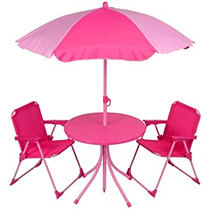 Kids 4pc Garden Patio Furniture Set Pink Table Parasol