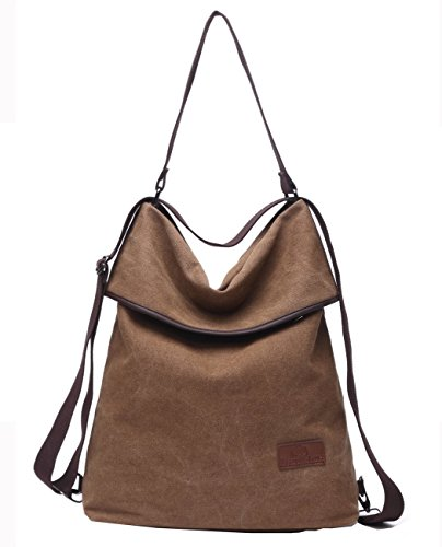 Travistar Women Multifunction Shoulder Bag- Canvas Backpack Purse Crossbody Casual ()