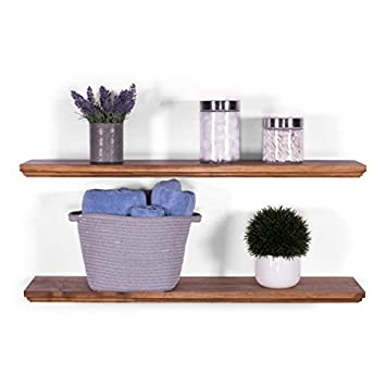 DAKODA LOVE 8 Deep Routed Edge Floating Shelves, USA Handmade, Clear Coat Finish, 100 Countersunk Hidden Uni-Brackets, Beautiful Grain Pine Wood Wall Decor Set of 2 36 , Bourbon