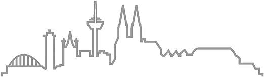 Samunshi Köln Skyline Aufkleber Silhouette In 8 Größen Und 25 Farben 15x4 4cm Grau Küche Haushalt