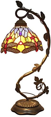 Stained Glass Table Lamp Blue Yellow Tiffany Desk Reading Lamps Crystal Bead Dragonfly Style Shade W8H21 Inch for Living Room Bedroom Bookcase Dresser Coffee Table S168 WERFACTORY