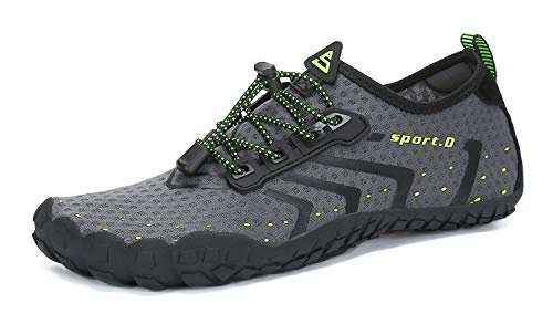 Lxso Women Men Water Shoes Quick Dry Barefoot Sports Aqua Durable Outsole Shoes for Swim Beach Aerobics Surf Yoga Exercise(Lxso-wzhp1-Grey36)