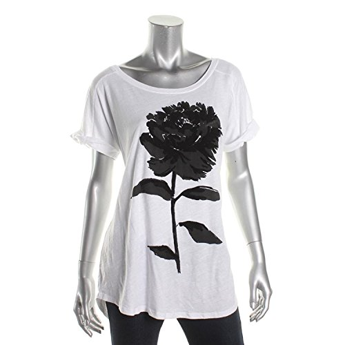Lucky Brand Women's Cotton Flower Graphic Short Sleeve Top (White, - Top Brands Designer