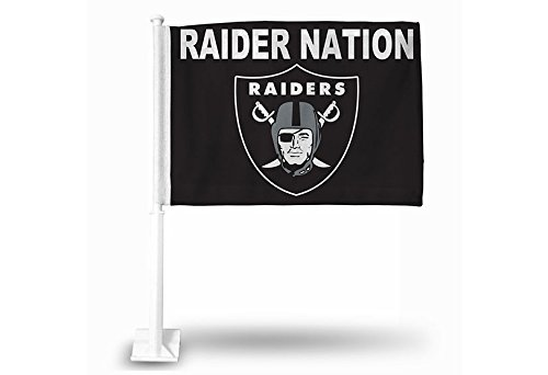NFL Oakland Raiders Car Flag, Black, with White Pole