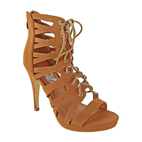 Guilty Heart - Womens Cutout Gladiator Lace Up Stiletto High Heel Open Toe Sandal Heeled Sandals, Tan Suede, 7.5 B(M) US