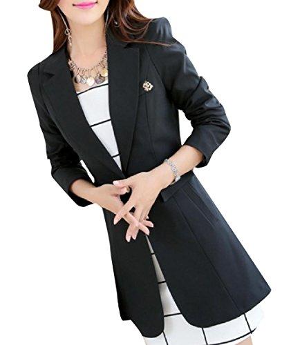 Abetteric Women's Classic Fit Single Button Longline Blazer Jacket Black S by Abetteric
