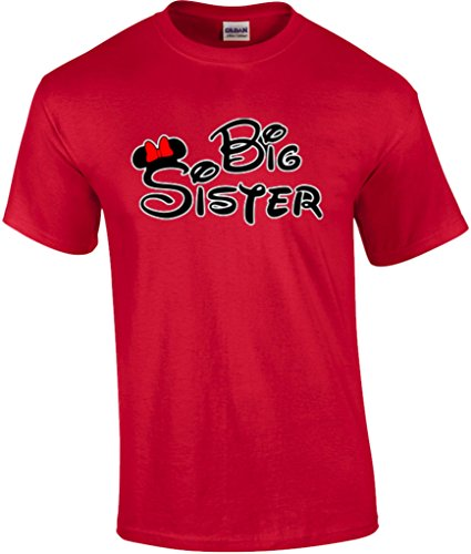 Mickey Dad Minnie Mom Disney FAMILY Vacation BIRTHDAY Matching Tshirts S Youth 7-8 Big Sister-Red Big Sister Youth T-shirt