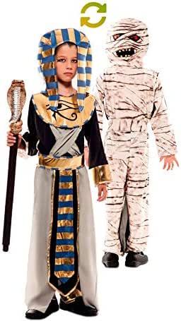 EUROCARNAVALES Disfraz Doble de Faraón Egipcio y Momia para niño ...
