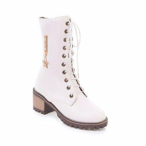 La mujer botas, grandes estrellas de metal, botas, botas de mediados del cilindro white