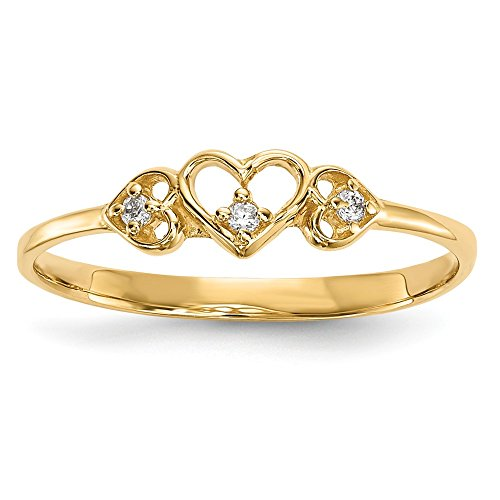 14k Yellow Gold Cubic Zirconia Cz 3 Hearts Band Ring Size 7.00 S/love Fine Jewelry Gifts For Women For Her
