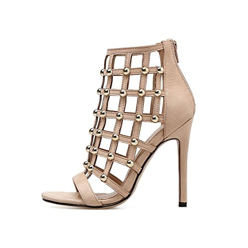 38 Explosions Openwork 36 Sandals YWNC Albaricoque apricot altos Rivet Zapatos Tacones 35 mujer Zip 40 Mouth Fine Black 39 2018 Fashion de Back Fish 37 Heel 5vRRqxBw
