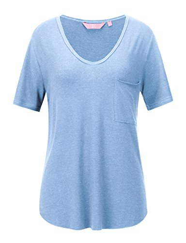 REGNA X Love Coated Woman night out Side slit Flowy Loose cap sleeve T-shirt M,17506_light Blue,Medium (T-shirt Night Cap Womens Sleeve)