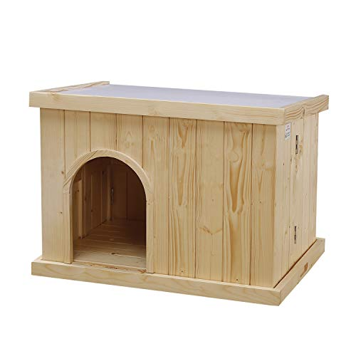 JSY Wood Dog House Kennel with Opening Roof & Bottom Removable for Indoor/Outdoor, Natural Pine and Only 4-Steps Assembled (Best Wood For Dog House)