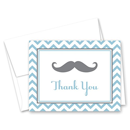 MyExpression.com 50 Cnt Mustache Blue Chevrons Baby Shower Thank You Cards