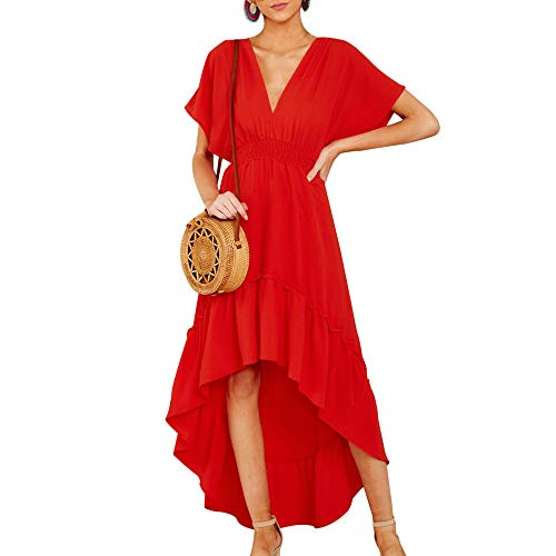 (Joteisy Women's V Neck Short Sleeves Tie Back Ruffled High Low Hem Maxi Dress (S, Red))