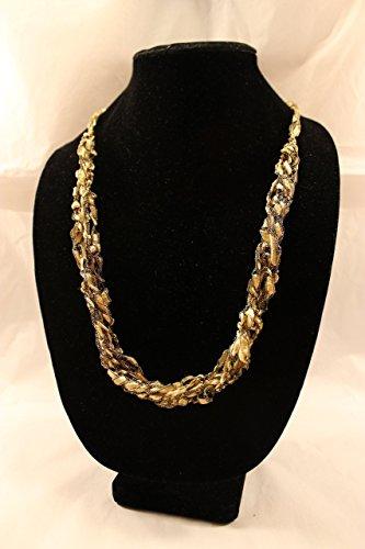1 Adjustable Length Scarf Necklace Crocheted Yarn Gold Ladder Trellis (Trellis Scarf)
