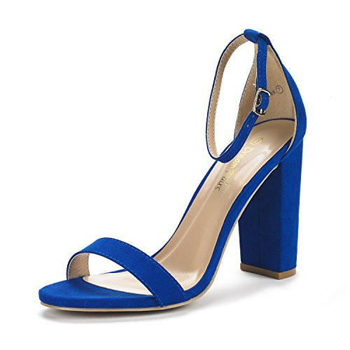 (DREAM PAIRS Women's Hi-Chunk Royal Blue High Heel Pump Sandals - 9 M US)