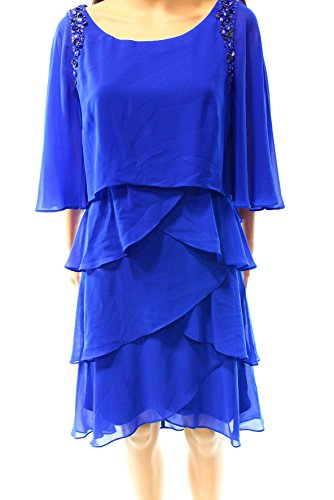(SLNY Womens Beaded Tiered Cocktail Dress Blue 4 )