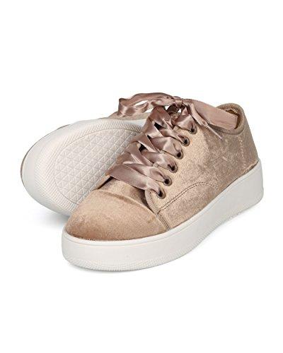 Sneaker Creeper Alrisco Da Donna - Sneaker Bassa In Velluto Con Plateau - Lace Lace Femminile - Hd07 By Wild Diva Collection Taupe Valvet