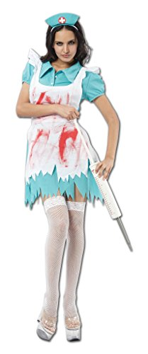 Ladies Halloween Zombie Nurse Costume Onesize US 4-10 (Onesize (US 4-10), White/Blue)