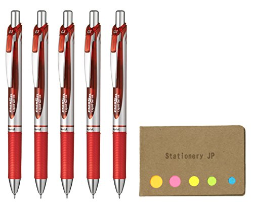 Pentel Energel Retractable Liquid Gel Ink Pen, Micro Fine Point 0.3mm Needle Tip, Red Ink, Silver Body, 5-Pack, Sticky Notes Value Set ()