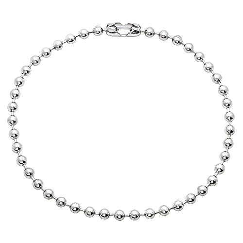The Bling Factory Small 3mm Smooth Rhodium Plated Pelline Style Bead Chain Bracelet, 7